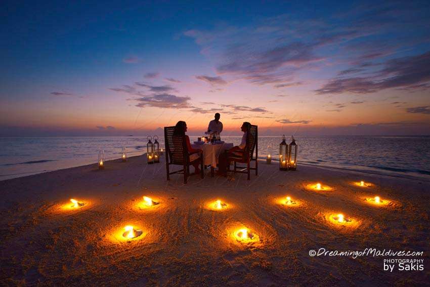 Baros Maldives private sandbank Dinner