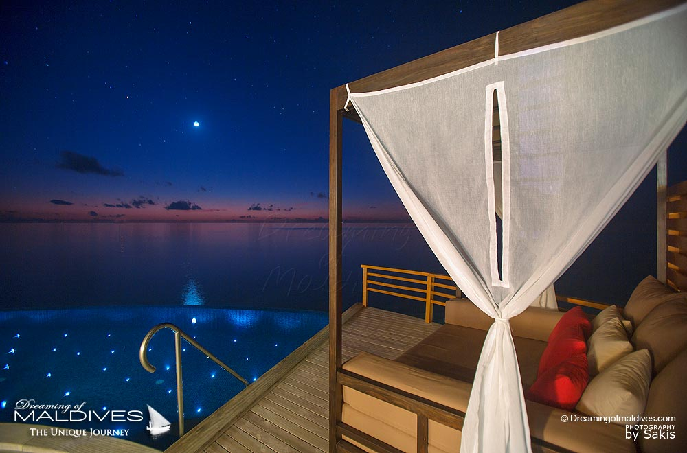 Baros Maldives Baros Water Pool Villa under the moonlight