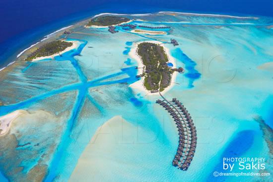 Anantara Dhigu Maldives, Vue Aérienne sur les 3 iles du site
