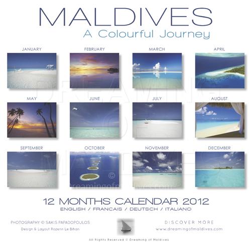 Calendrier 2012 des Iles Maldives. dos