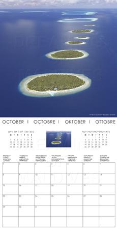 Calendrier 2012 des Iles Maldives. Octobre