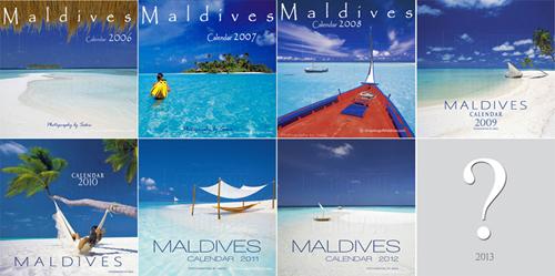 Couvertures des Calendriers Muraux des Iles Maldives. Toute la collection Dreaming of Maldives