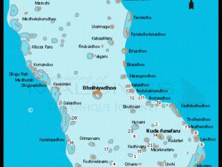 Carte du Nord des Maldives et carte des sites de plongées accessibles depuis l'hôtel.