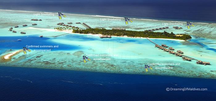 Carte des sites de snorkeling autour de Gili Lankanfushi Maldives