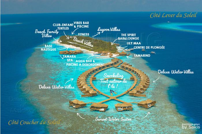 Carte des sites de snorkeling autour de Lily Beach Maldives