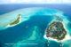 Photo aérienne de l'ile du Conrad Maldives Rangali Island sur laquelle Michael Phelps a passe ses dernières vacances aux Maldives
