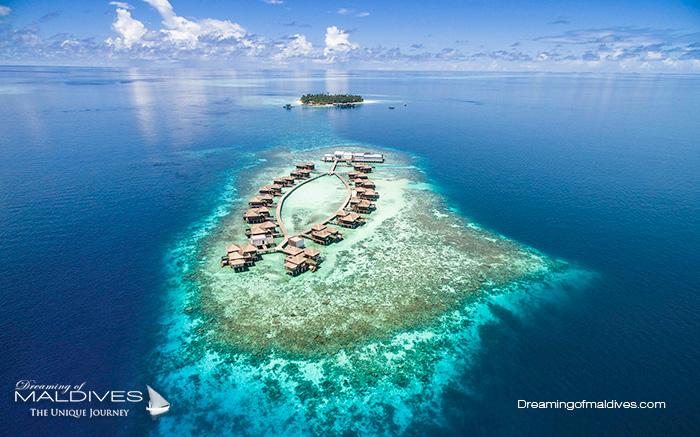 Photo aérienne des Récifs tout autour de l'Île de Dhevanafushi, nouveau Raffles Maldives pour le snorkeling