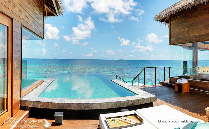 l'hôtel de Dhevanafushi, nouveau Raffles Maldives pour le snorkeling depuis les villas sur pilotis