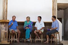 Jon Bowermaster, Daryl Hannah, Fabien Cousteau, Chris Gorell Barnes - Discussion sur la  Preservation sur la biodiversite des Océans - seminaire SLOW Life environnement 2011 Soneva Fushi