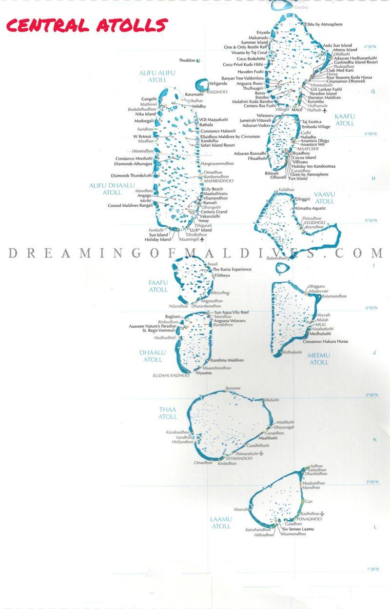 carte des atolls centre des Maldives