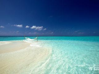 hamac sur un banc de sable des iles maldives