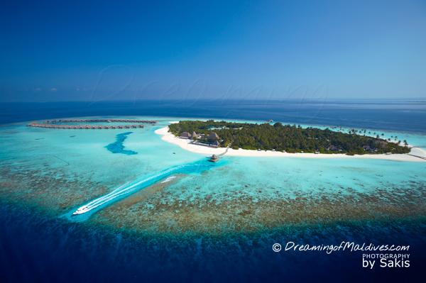 Vue aérienne sur Anantara Kihavah Maldives