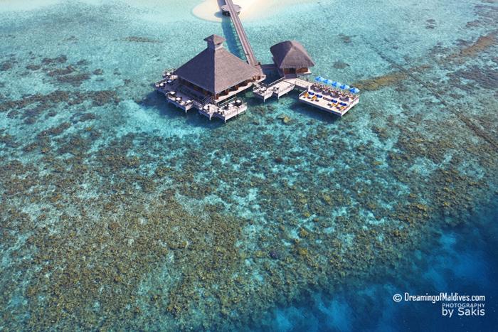 Huvafen Fushi Maldives Photo aerienne - Les Restaurants sur Pilotis SALT et RAW