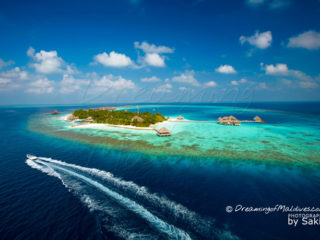 photo aérienne Huvafen Fushi Maldives
