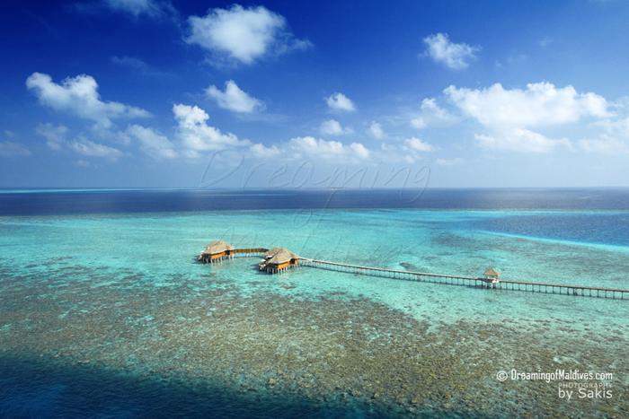Huvafen Fushi Maldives Photo aerienne Les 2 Ocean Pavilions