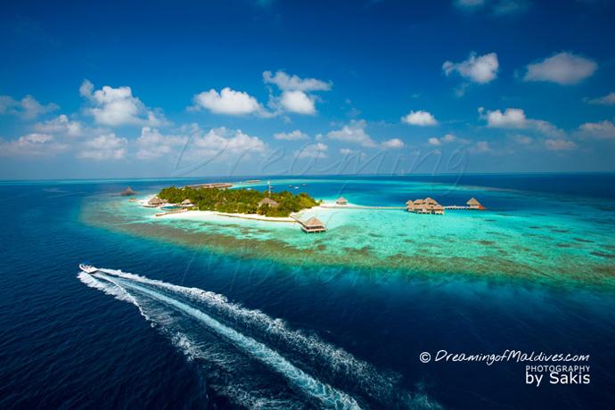 photo aérienne Huvafen Fushi Maldives