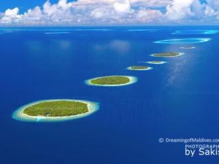 Maldives. Chapelet d'iles dans l'Atoll de Baa. Photo Aérienne