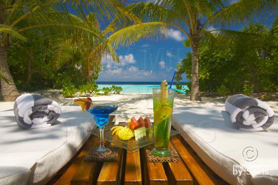 Lily Beach Maldives - Formule Tout-Inclu. Vue depuis la terrasse d'une Beach Villa