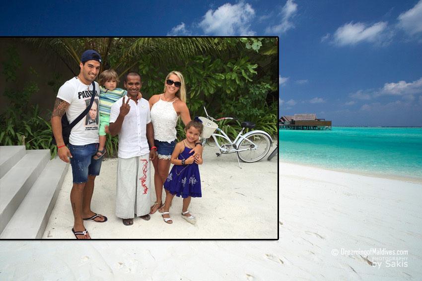 Luis Suarez en Vacances aux Maldives sur L'île de Niyama. Photos et Vidéo