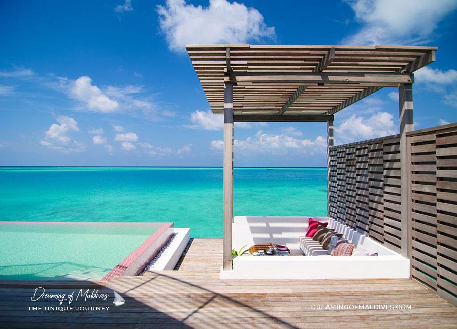 Terrasse des Penthouses sur Pilotis LUX* North Male Atoll