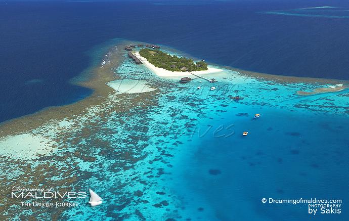 Mirihi Maldives meilleur Hotel pour le Snorkeling. Vue Aérienne