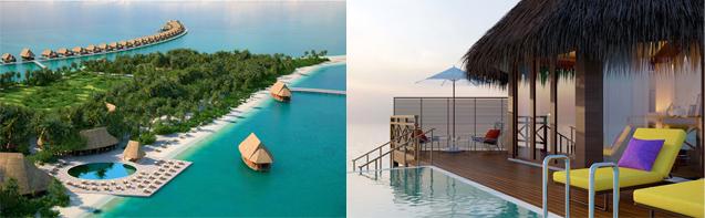 Les 2 nouveaux Hôtels gérés par Accord aux Maldives. A gauche Pullman Maatutaa et à droite Mercure Kooddoo