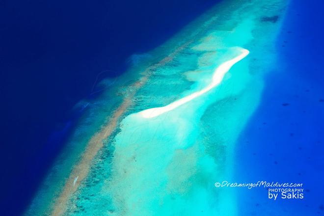Photo aérienne sur un des très nombreux Banc de Sable des Maldives
