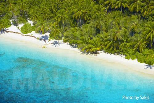 Photo aérienne des Maldives - Zoom sur la plage d'une ile deserte