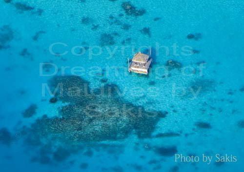 Photo aérienne d'une terrase privée d'un Resort des Maldives