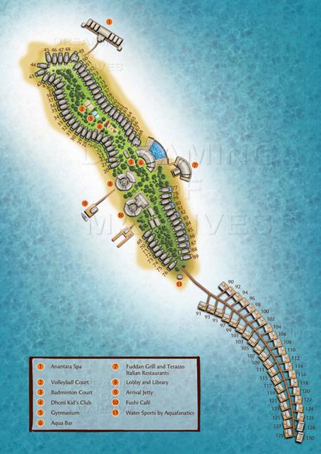 Plan de l'hôtel d'anantara dhigu maldives