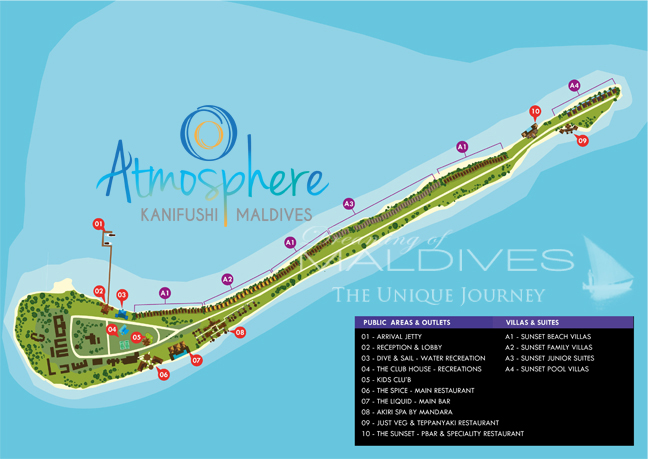 Plan de l'Île-Hôtel d'Atmosphere Kanifushi Maldives
