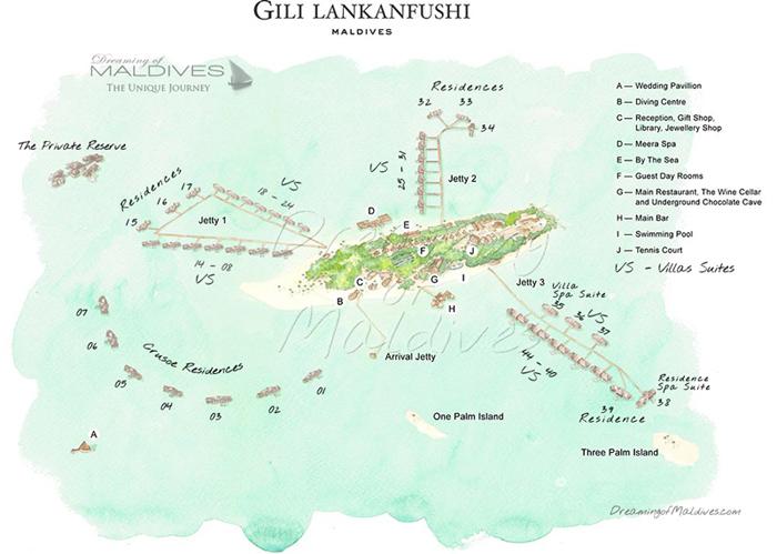 Plans de l'Île-Hôtel de Gili Lankanfushi Maldives