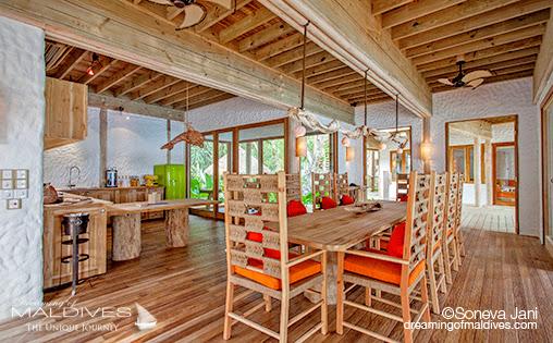 Soneva Jani - Salon et Cuisine des Villas sur Plage