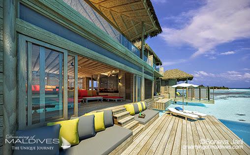 Soneva Jani - LA terrasse extérieure des Villas sur pilotis