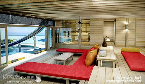 Soneva Jani - Salon Lounge des Villas sur pilotis