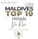 Classement Officiel des Plus beaux Hôtels des Maldives 2019