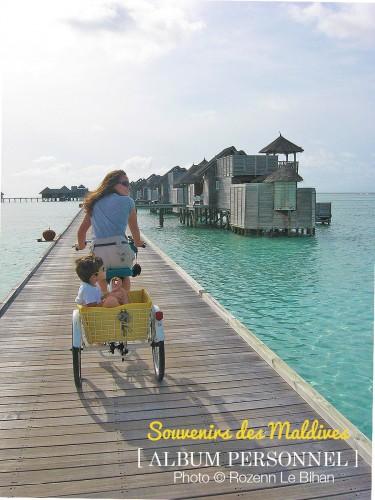balade à vélo a gili lankanfushi maldives avec mon fils