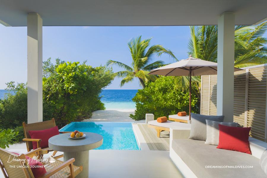 Les plus belles villas sur plage aux Maldives .La Villa sur Plage avec piscine à Dhigali Maldives Beach Villas with Pool