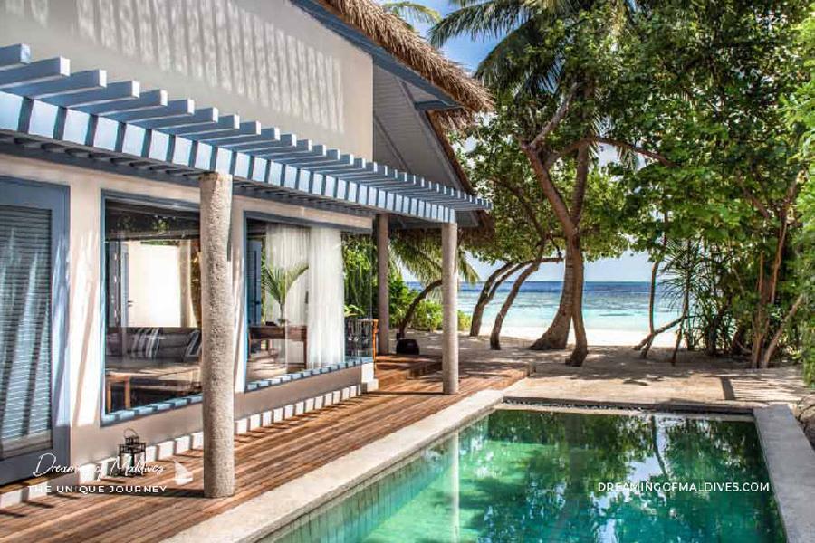 Les plus belles villas sur plage aux Maldives La Villa Deluxe à Raffles Maldives Meradhoo Deluxe Beach Villa