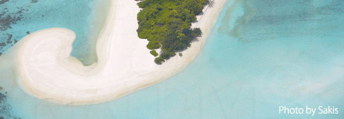 Photo aérienne des Maldives - Zoom sur une formation de plage dont les dessins sont dus aux courants marins