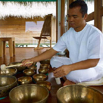 Gili Lankanfushi Maldives Spa Treatments for the Mind. Musical Therapy with Tibetan Singing Bowls