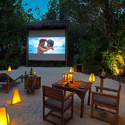 Gili Lankanfushi Maldives best Moment and Place Watch a movie under the stars in the Island Jungle Cinema