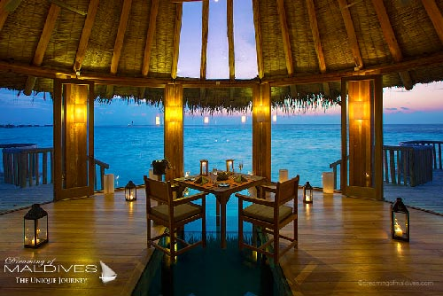 Gili Lankanfushi Maldives - Lagoon Champa for an intimate dinner with stunning sunset views.