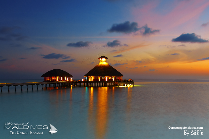 Huvafen Fushi Maldives Gourmet Restaurant Salt set over water