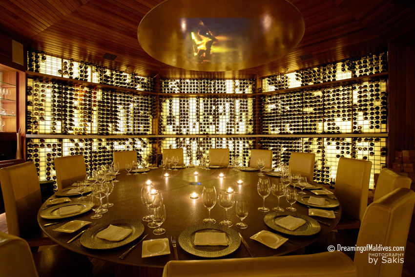Huvafen Fushi Maldives Vinum undergound cellar is one of the most exclusive and rich wine Cellar in Asia