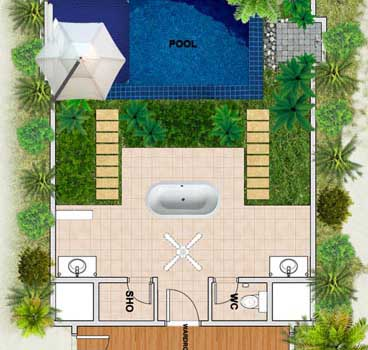 Huvafen Fushi Maldives Beach Bungalows with Pool Floor plan