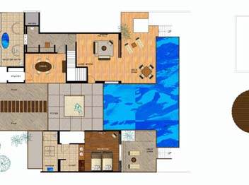 Huvafen Fushi Maldives Two Bedroom Beach Pavilion with Pool Floor plan