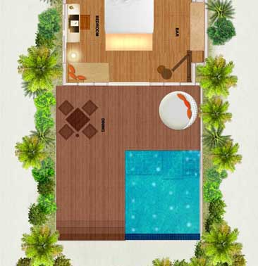 Huvafen Fushi Maldives Deluxe Beach Bungalows with Pool Floor plan