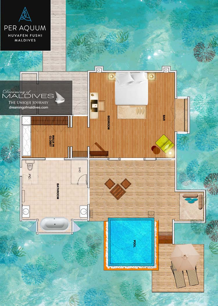 Huvafen Fushi Maldives Lagoon Bungalows with Pool Floor plan