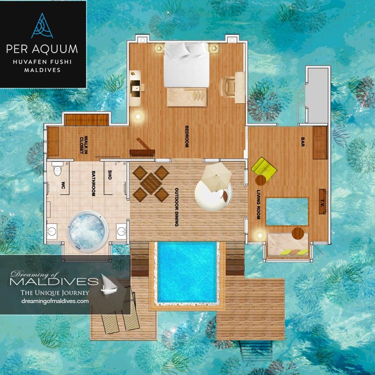 Huvafen Fushi Maldives Ocean Bungalows with Pool Floor plan